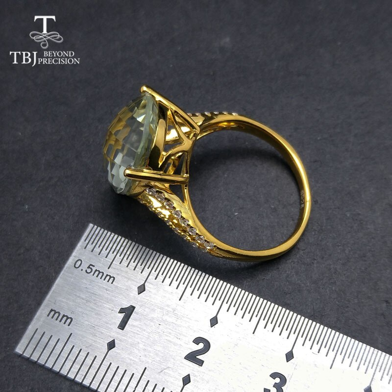 TBJ,New big natural green amethyst Ring in 925 sterling silver yellow gold color gemstone jewelry for girls as a valentines gift