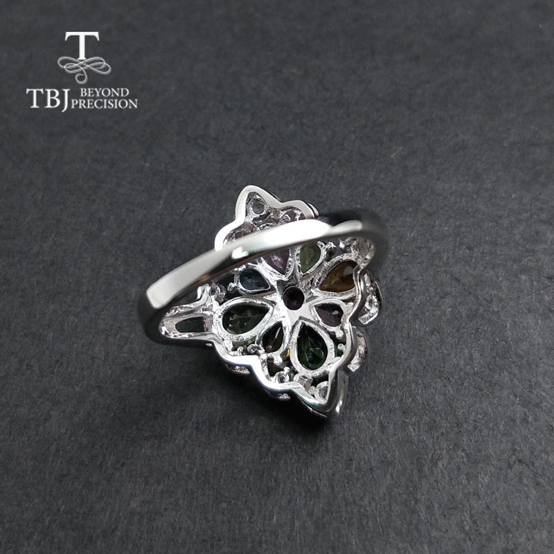 TBJ,natural tourmaline gemstone ring in 925 sterling silver colorful precious stone jewelry for women mom girl as birthdays gift