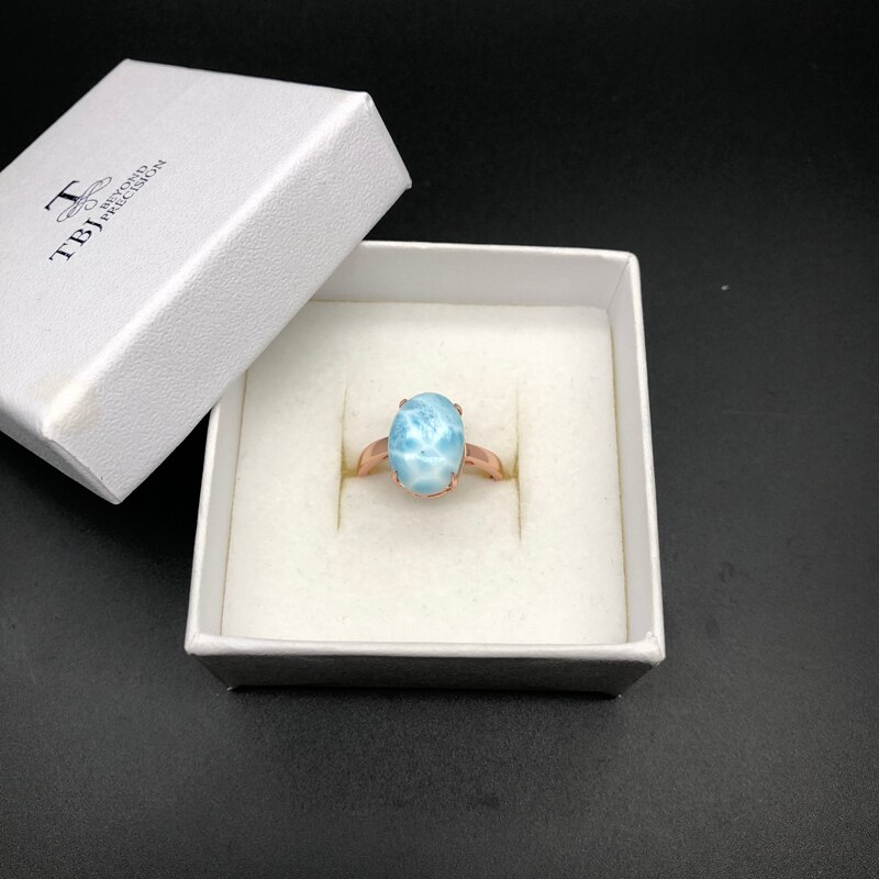 New style natural gemstone oval 10*14mm Larimar rings 925 sterling silver simple and easy to match fine jewelry for women