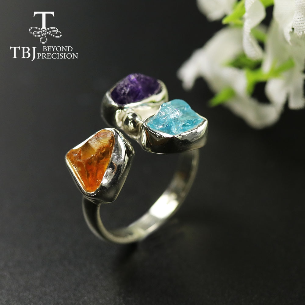 TBJ,2020 Unique handmade Rough Ring natural Amethyst citrine apatite gemstone women ring 925 sterling fine jewelry gift party
