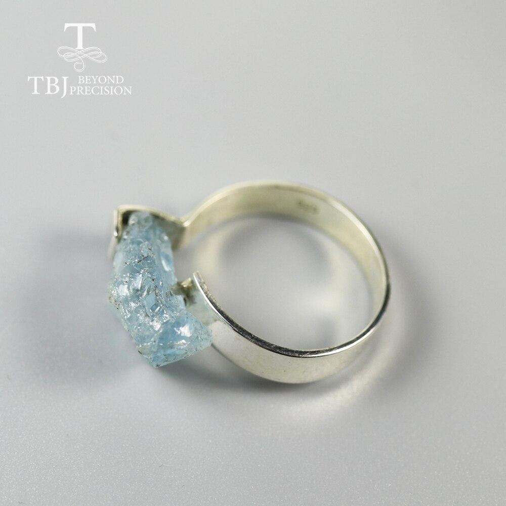 TBJ,2020 new handmade aquamarine Ring elegant design natural gemstone jewelry 925 sterling silver women ring birthstone jewelry