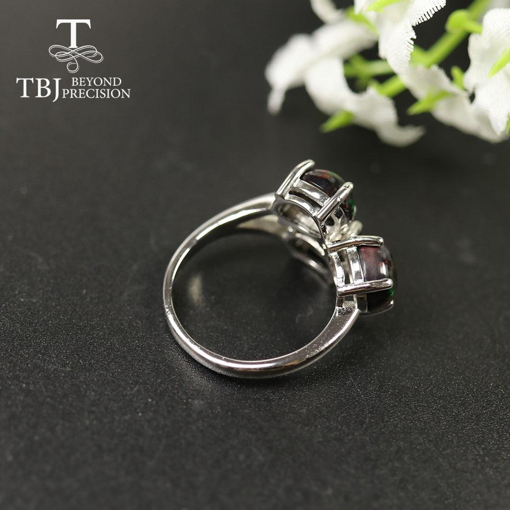 Tbj,2020 Simple Black opal Ring oval 6*8mm Ethiopia opal gemstone 925 sterling silver fine jewelry for women mom wife nice gift