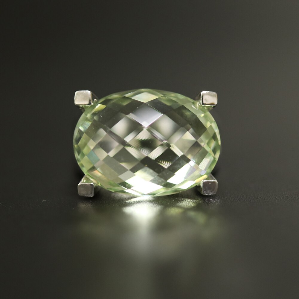 Green amethyst ring natural gemstone with 925 sterling silver simple fashion design fine jewelry for woman tbj promotion