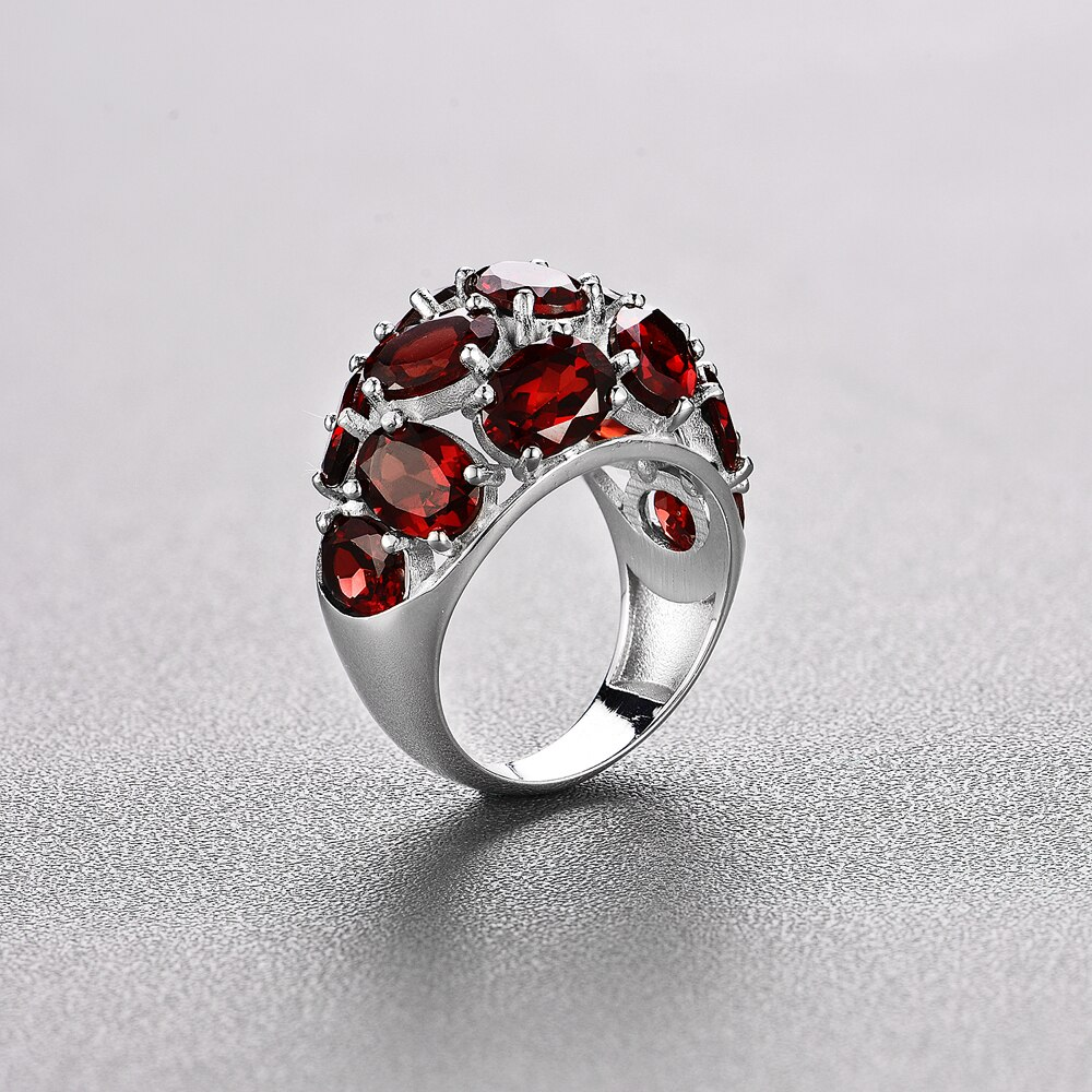 Natural gemstone garnet unisex ring 925 sterling silver creative fine jewelry Suitable for birthday nice gifts tbj promotion