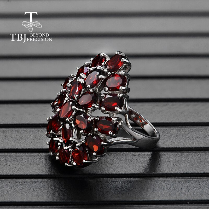 Tbj,Natural gemstone garnet the latest flower shape big ring 925 sterling silver fine jewelry for women anniversary nice gift