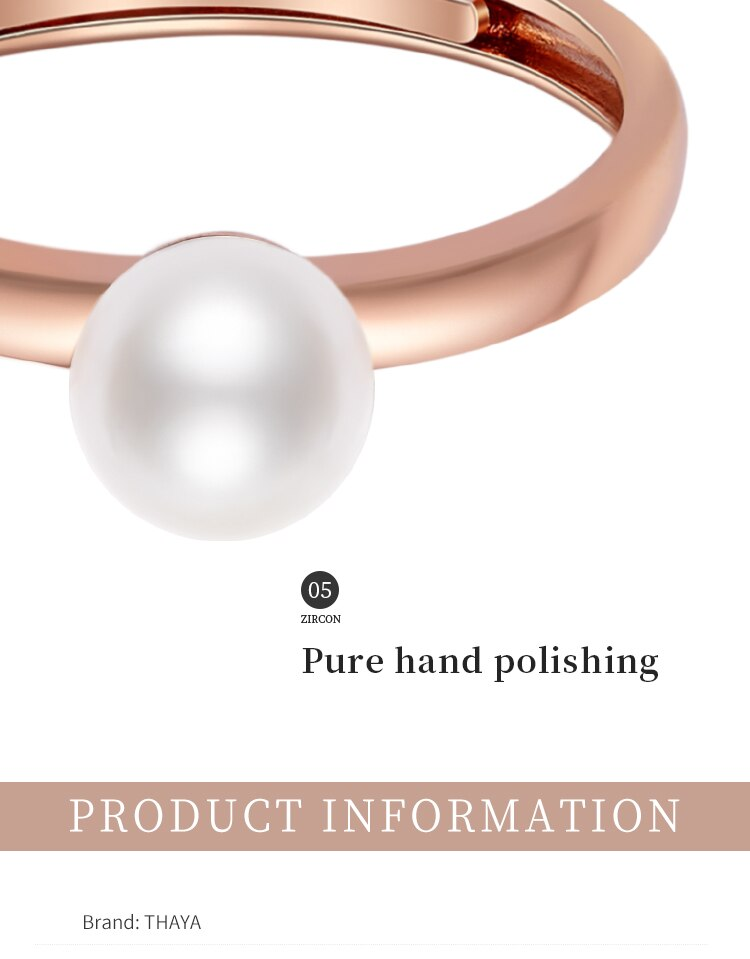 Thaya 100% S925 Sterling Silver Hand made Pearl Ring Rose Gold Plated 18k Elegant Ring For Women Fine Jewelry Fashion Gift