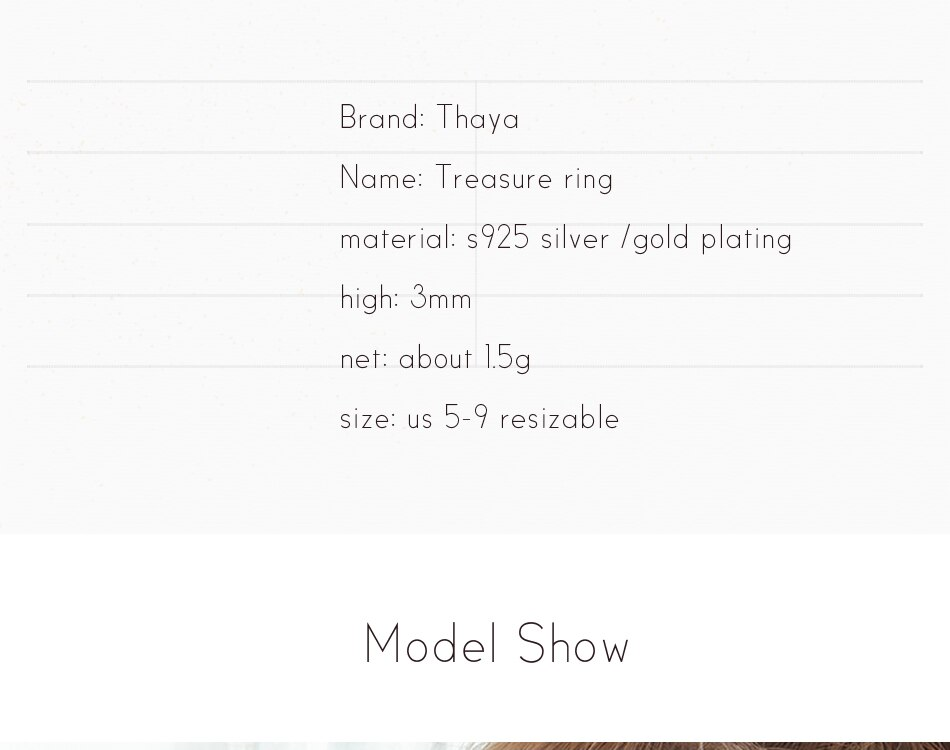 Thaya S925 Sterling Silver Gold Crack Ring Ancient Black Wood Grain Female Handmade Stackable For Women Party Fashion Jewelry