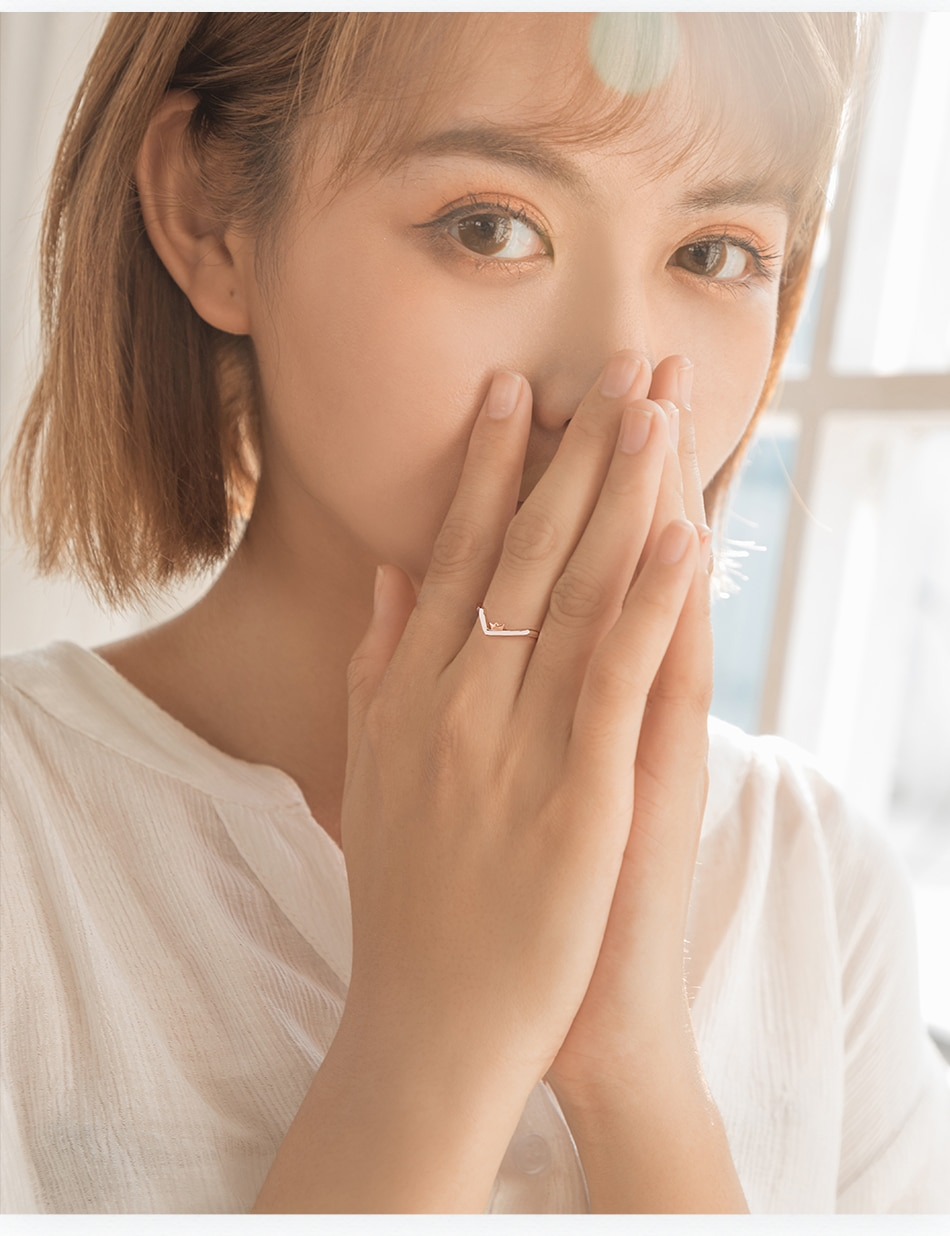 Thaya To Ride the Winds and Break The Waves Design Finger Ring Rose Gold s925 Silver Handmade Jewelery for Women Gift