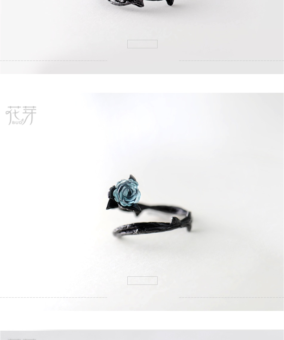 Thaya Rose Thorns s925 Silver Rings Blue Crystal Rose Flower Vintage Plant Valentine's Gift for Women Knot Black Fine Jewelry