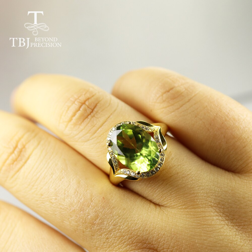 Oval 10*14mm 7ct big size olive Topaz Gemstone Ring 925 sterling silver fine jewelry for women  anniversary birthday party gift