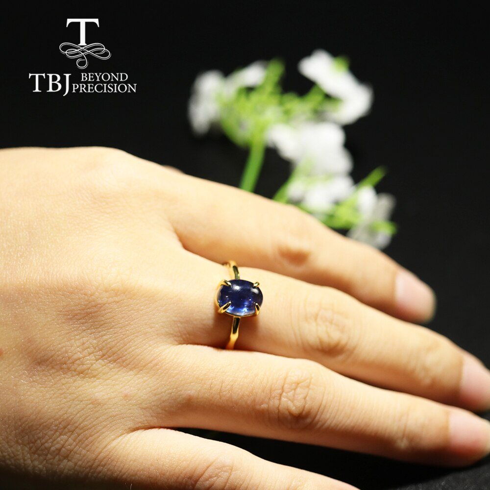 Tbj Natural kynaite gemstone Ring oval 7*9mm 2.5ct 925 sterliing silver yellow gold fine jewelry for women