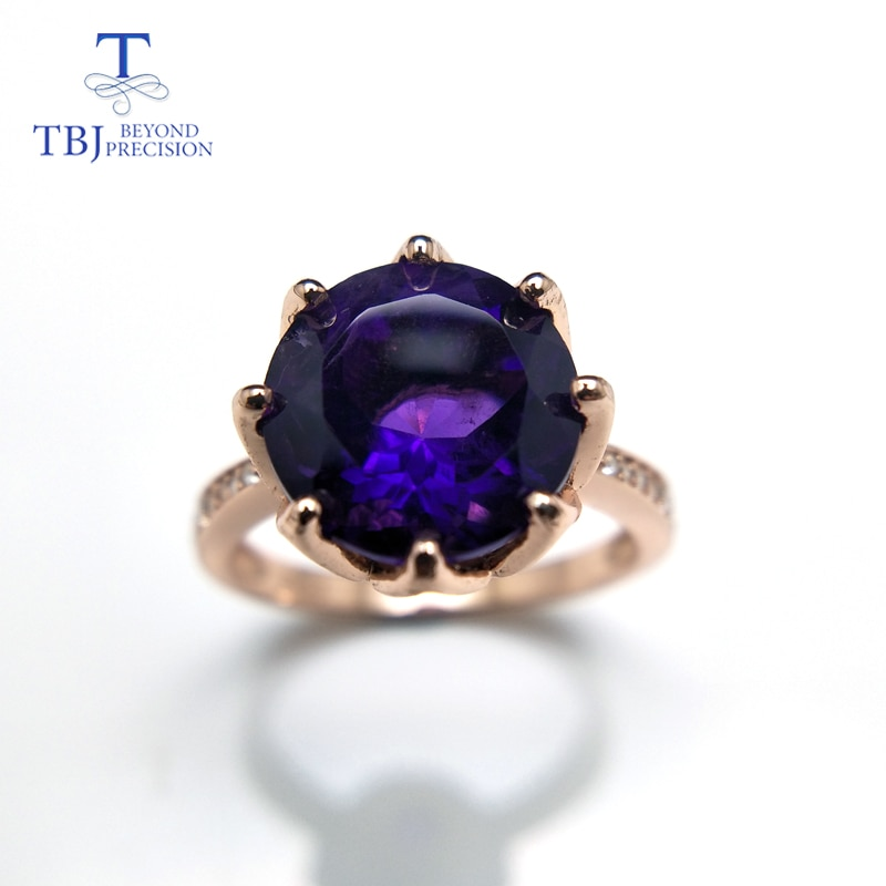 TBJ,Royal Ring with natural african amethyst in fine Jewelry 925 sterling silver rose color women girls as Christmas gift