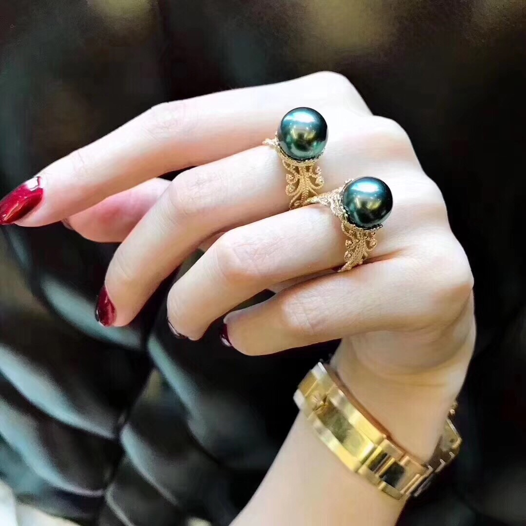 Fine Jewelry Natural Fresh Water 11-10mm Black Peals Rings for Women Fine Pearls Rings