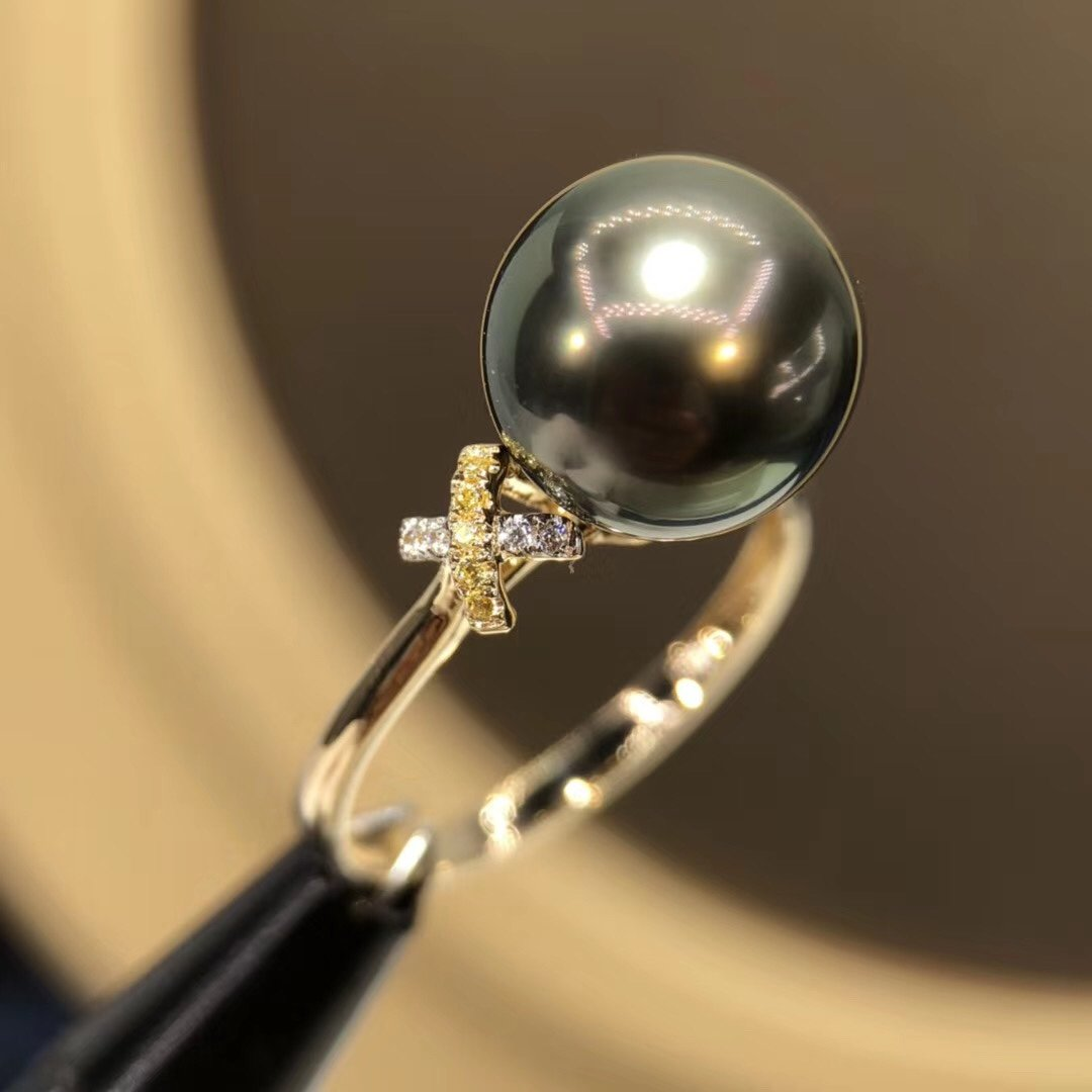 D513 Pearl Ring Fine Jewelry Solid 18K Gold Round 10-11mm Diamonds Nature Sea Water Peacock Green Tahiti Black Pearls Rings