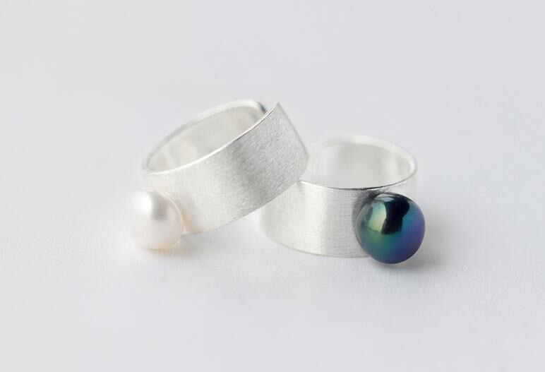 Real. 925 Sterling Silver jewelry freshwater cultured black /white Pearl Band Ring Thumb Ring For Party Cocktail GTLJ1174