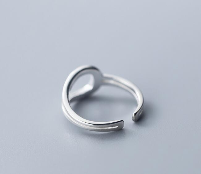 100% Authentic REAL.925 Sterling Silver Criss Cross Twisted geometric Long Rings adjust GTLJ1650