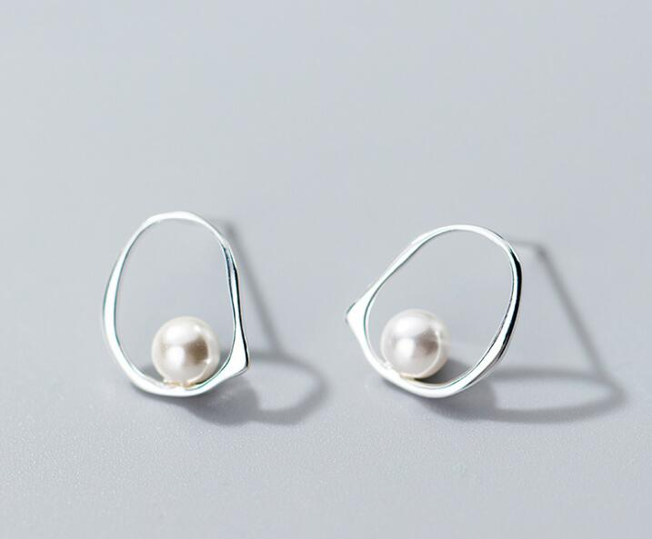 1Pair Authentic Real 100% 925 Sterling Silver fine Jewelry Pearl on the Geometric Open Oval Stud Earrings gtle2427
