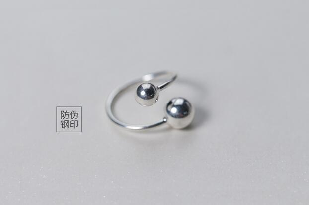 1PC Real. 925 Sterling Silver jewelry Double Bigger & Smaller Ball Round Ring Open Geometric Charms GTLJ1240