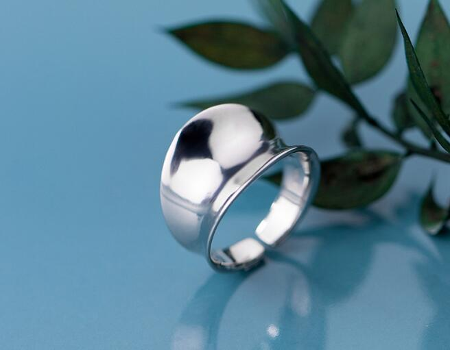 100% Authentic REAL.925 Sterling Silver Glossy Smooth Irregular concave Surface Adjust Rings Band Wider GTLJ1619