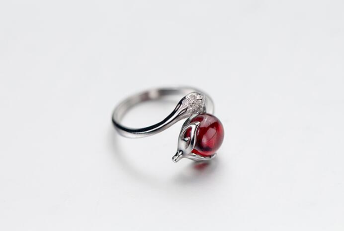 cute 100% Authentic REAL.925 Sterling Silver Fine Jewelry  Red crystal Fox shape open Ring Animal adjustable GTLJ1447