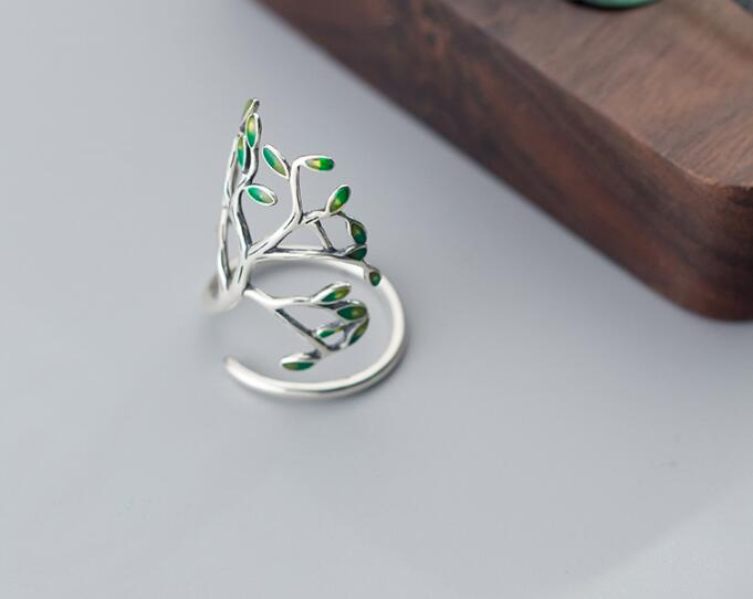 Vintage Real. Fashion 925 Sterling Silver Jewelry Green Branch Tree/ Olive of tree Long Ring Adjustable GTLJ972