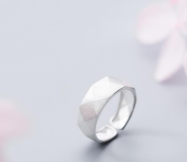 Adjustable.size5.25-size6.5 100% Authentic REAL.925 Sterling Silver Fine Jewelry Faceted-Cut Geometric Ring GTLJ1424