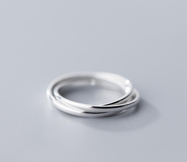 100% Authentic REAL.925 Sterling Silver Fine Jewelry Rounded Interlocking Three-Circles GEOMETRIC Ring GTLJ1488