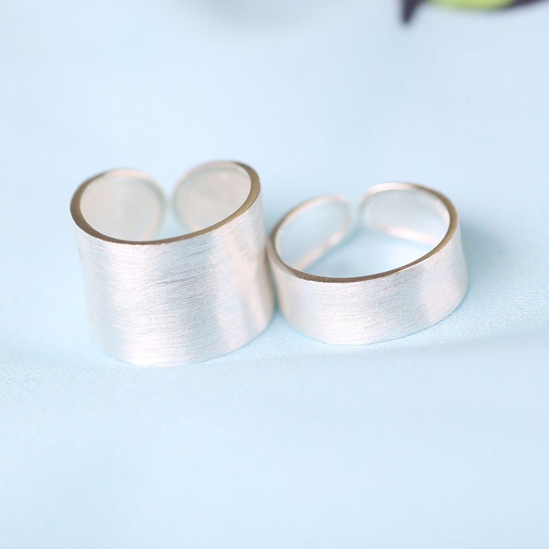 1pc Men's Women's Real. 925 Sterling Silver Jewelry Adjustable MATTE Brushed Band Ring jewelry GTLJ1200