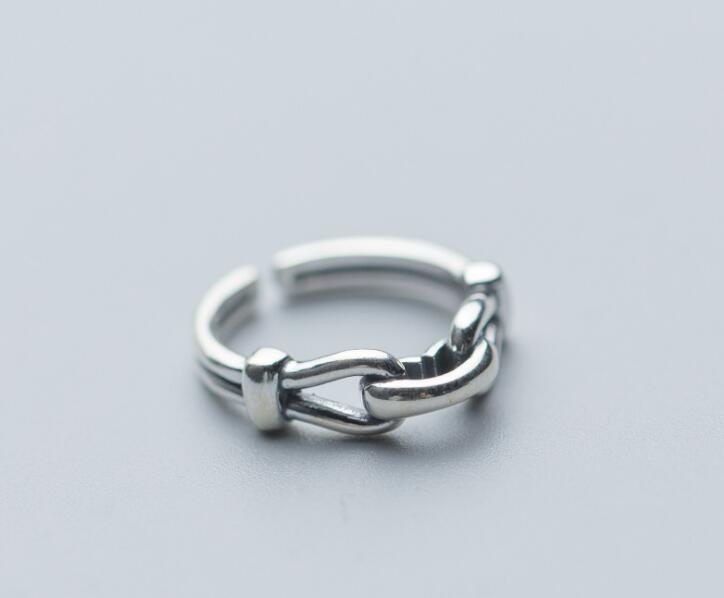 Retro Vintage 100% Authentic REAL.925 Sterling Silver Fine Jewelry Twisted Buckle Ring GTLJ1511