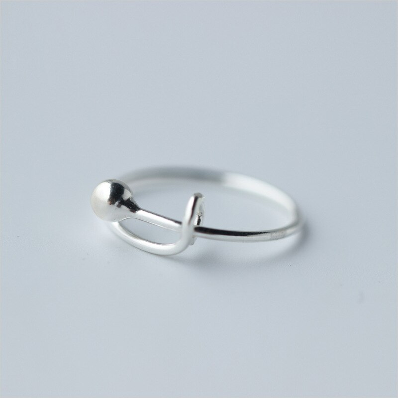 Real. 925 Sterling Silver Jewelry  Ball latch fastener /Catch Ring Adjustable J1230
