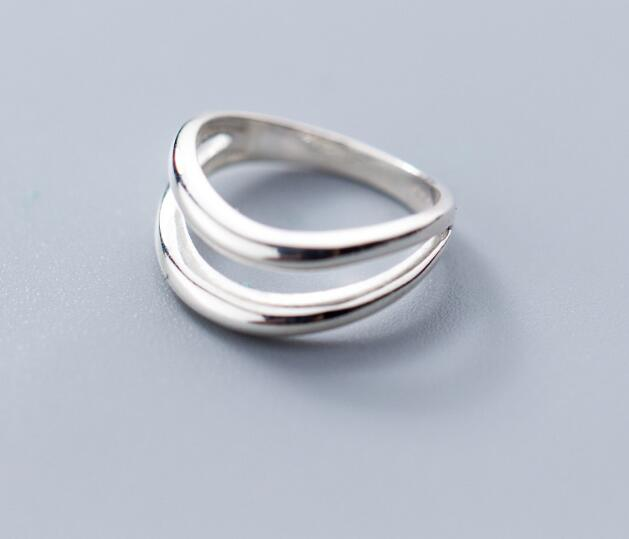 100% Authentic REAL.925 Sterling Silver Fine Jewelry Hollow Double Rows irregular Geometric Knuckle Midi toe  Ring GTLJ1472