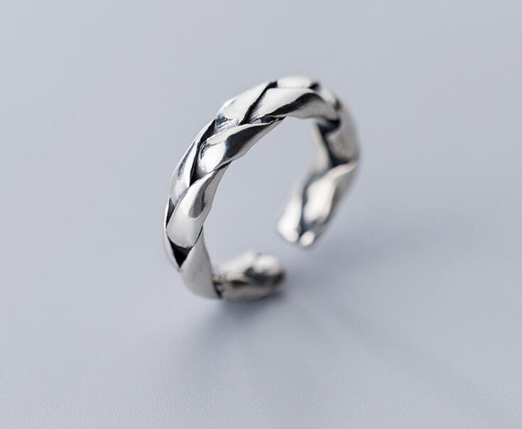 Retro Vintage 100% Authentic REAL.925 Sterling Silver Fine Jewelry Weave Braid Band Knuckle Midi Ring GTLJ1509