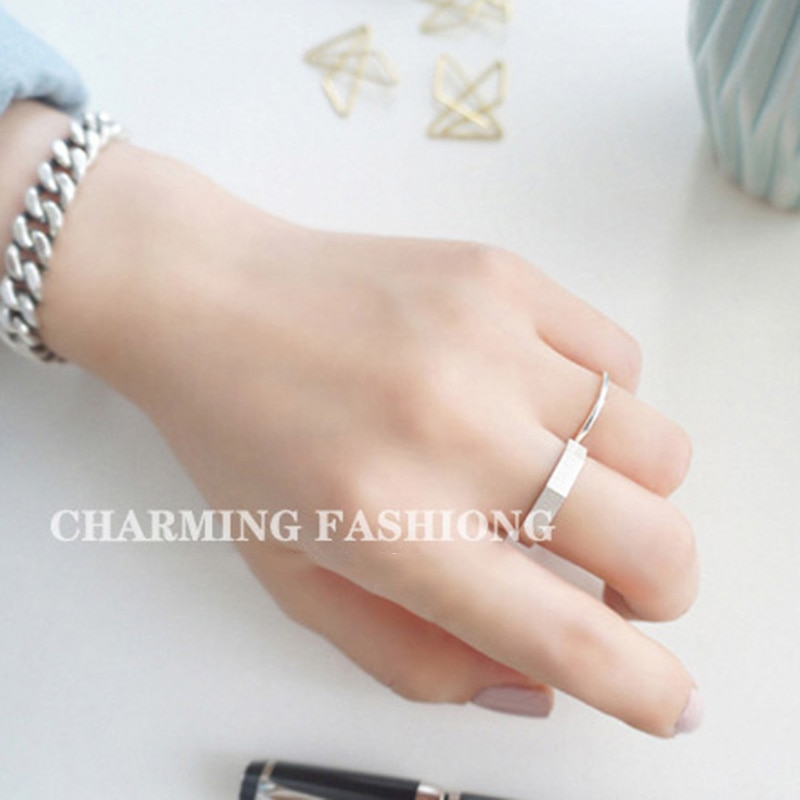 XIYANIKE 925 Sterling Silver Handmade Rings Korean Creative Geometric Jewelry for Women Wedding Couple Size 17mm Adjustable