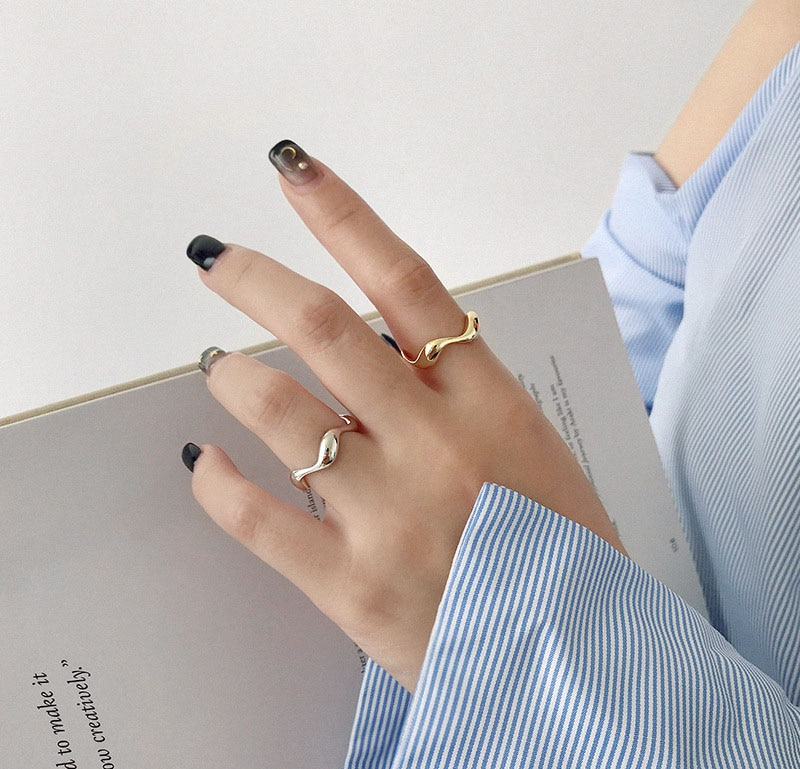 XIYANIKE 925 Sterling Silver Creative Handmade Rings Irregular Wave Smooth Engagement Jewelry for Women Size 16.5mm Adjustable