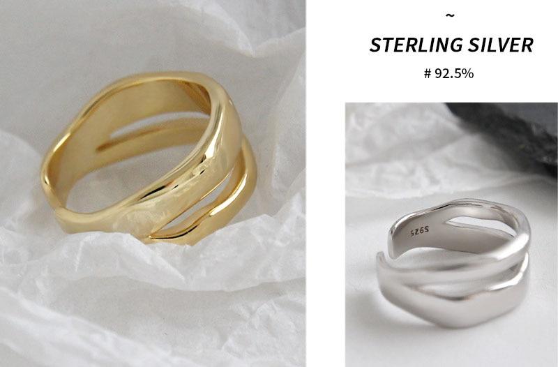 XIYANIKE 925 Sterling Silver Trendy Elegant Twist Two Circle Rings for Women Couple Simple Geometric Handmade Jewelry Adjustable