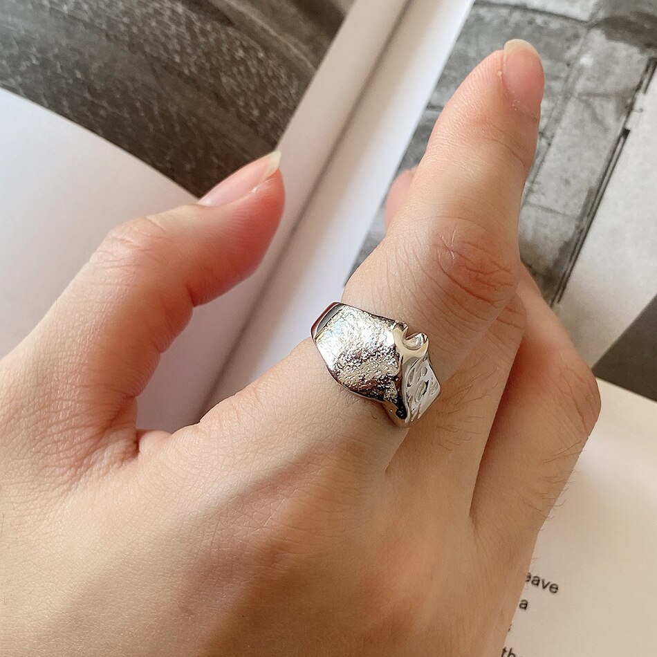 1pc 100% REAL. Authentic S925 Sterling Silver Jewelry mottled mountains Band Ring  TLJ1248