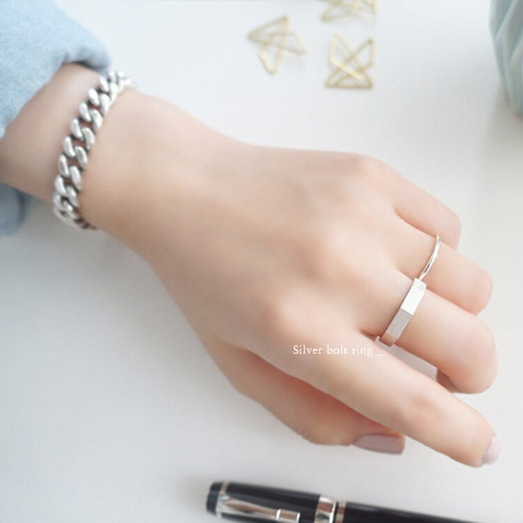 3.7mm  Authentic S925 Sterling Silver FINE Jewelry Brushed Hexagon Geometric Open Band Rings adjust J505