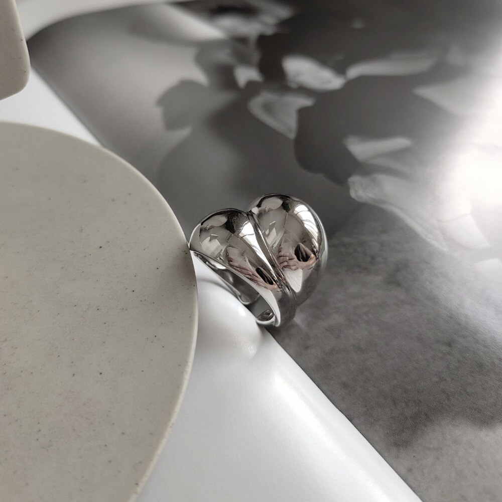Punk Authentic S925 Sterling Silver FINE Jewelry Glossy Smooth Irregular Geometric Wave Wider Long Rings adjust TLJ615