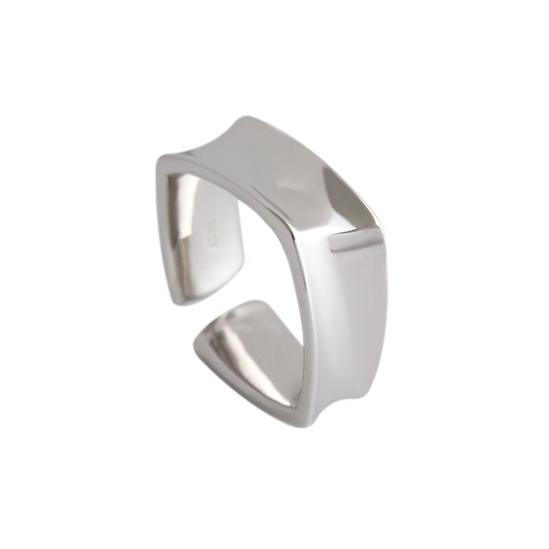 minimalist Authentic S925 Sterling Silver Fine Jewelry Ins Square Geometric Band Ring Adjust TLJ537