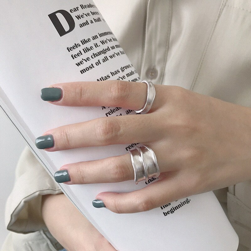 INS 100% real. Authentic 925 Sterling silver hammer Long Wider Ring Band Fine jEWELRY TLJ720