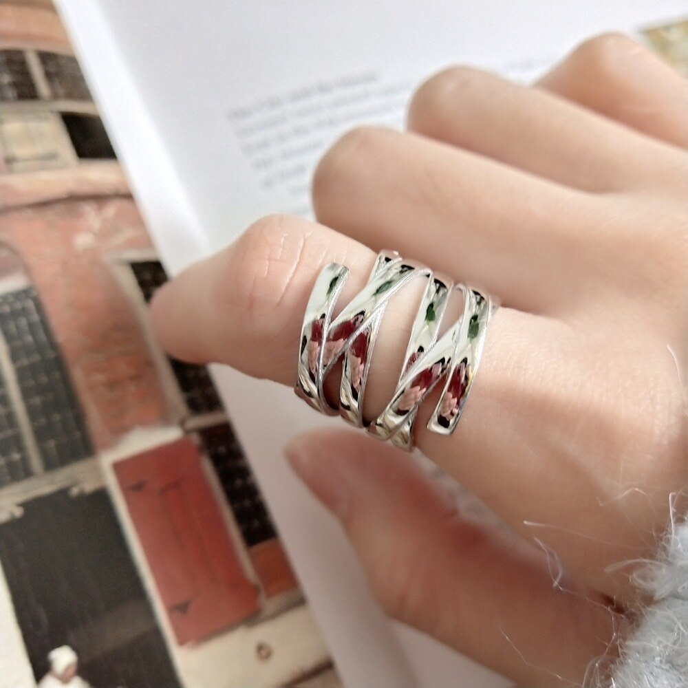 100% Authentic S925 Sterling Silver Fine Jewelry Geometric open lineS weave Multi-layer Criss Cross rings creative J235