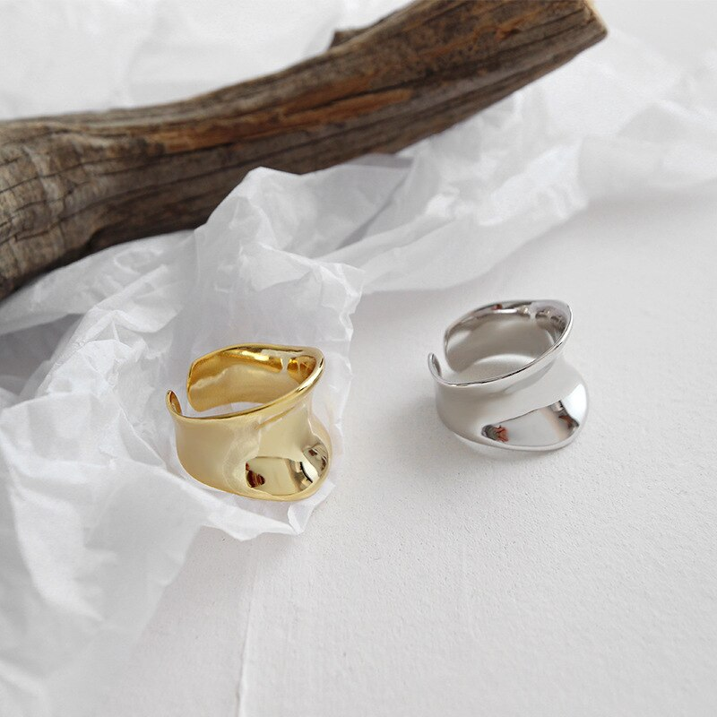 Authentic S925 Sterling Silver FINE Jewelry White/Gold Glossy Irregular Circular concave surface Wider Rings adjust TLJ606