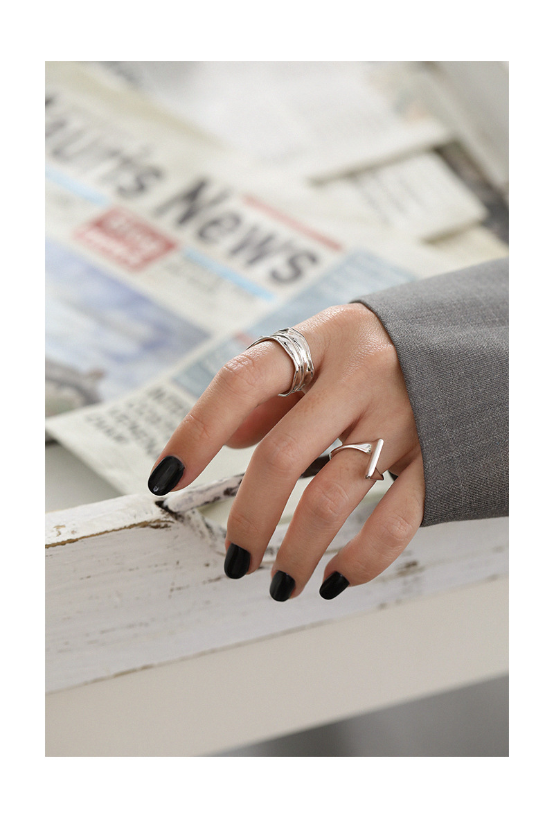 1pc  Authentic S925 Sterling Silver Jewelry Gold /White Irregular Concave and convex Surface Band Long Wider ring adjust TLJ1268