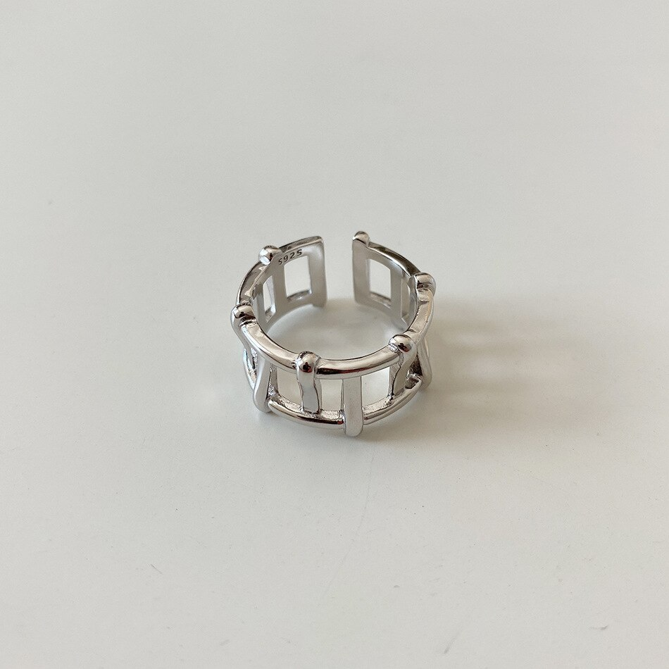 1PC Authentic 925 sterling silver Gold /White Hollow ladder shape Band Ring adjust Fine Jewelry TLJ1204