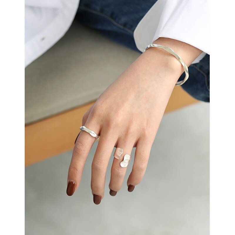 1pc INS 100% real. Authentic 925 Sterling silver Irregular Open Wave Band Ring Fine jEWELRY TLJ1134