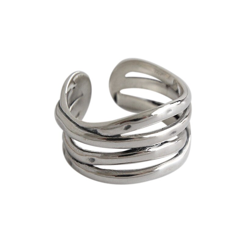 Authentic S925 Sterling Silver FINE Jewelry Criss Cross Multi-Layers Twine Long Band Rings adjust TLJ626
