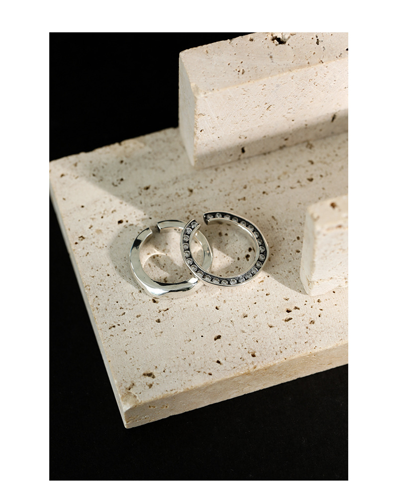 Retro Authentic S925 Sterling Silver Jewelry Zircon set Irregular Circle rings Adjust TLJ1351