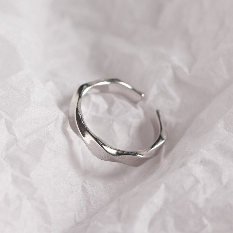 minimalist Authentic S925 Sterling Silver FINE Jewelry Twisted Band Rings adjust women's TLJ552
