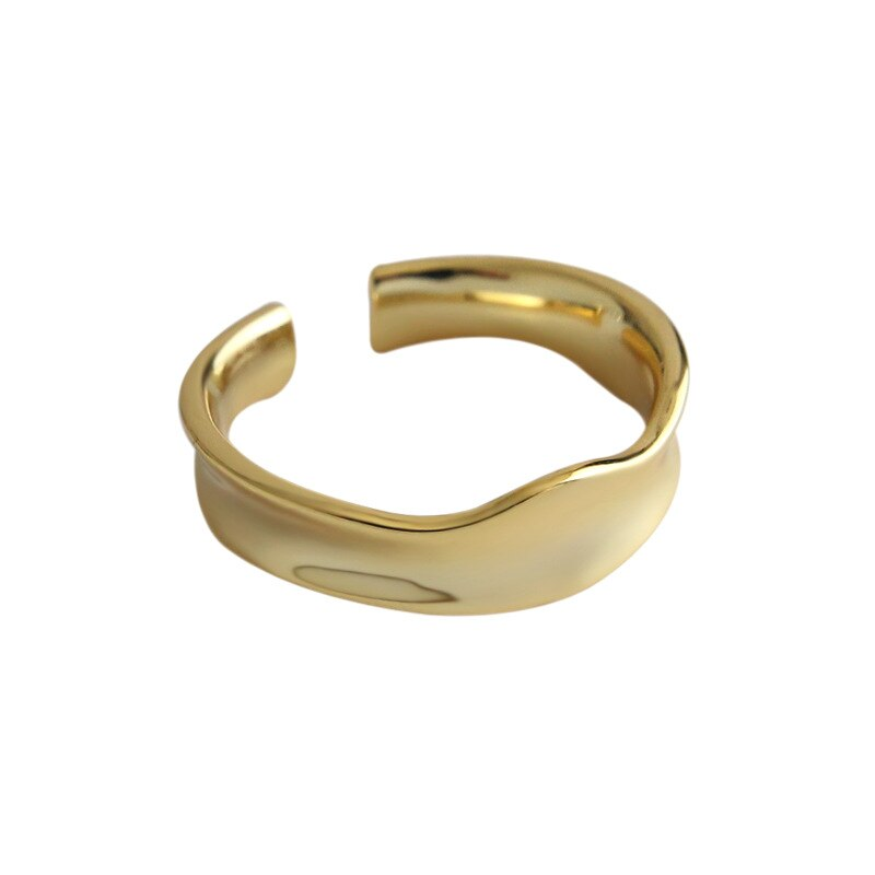 1PC 6mm Authentic S925 Sterling Silver FINE Jewelry White/ Golds Irregular geometric Wave Band ring adjust TLJ651