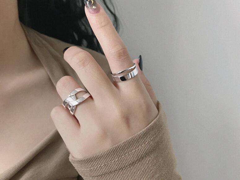 1PC Authentic S925 Sterling Silver FINE Jewelry White/Golds Glossy Line Double ROWS gEOMETRIC ring adjust TLJ661